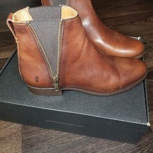 Frye Shoes - Frye Carly Zip Chelsea Cognac